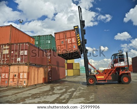 containers forklift at work - stock photo