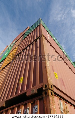 containers in a container terminal - stock photo