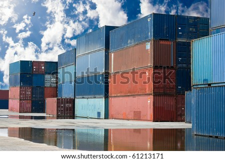 containers on a harbor - stock photo