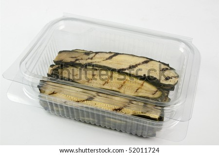 containers plastic transparency and film with food, fruit and vegetable - stock photo