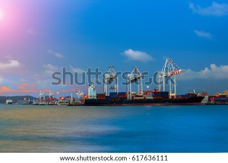 containers port loading and crane for traded port shipping on sky blue background
