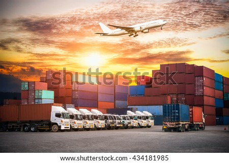 Containers shipping and forklift handling container box loading for import-export commercial logistic ,shipping business industry  - stock photo