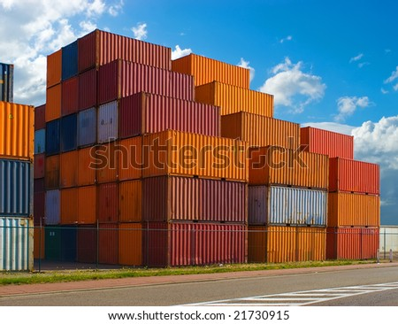 Containers stacked in the harbor - stock photo