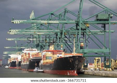 Containerterminal in the port of Antwerp, Belgium - stock photo