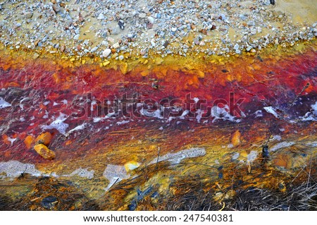 Contaminated red, toxic water stream in Geamana, Romania - stock photo