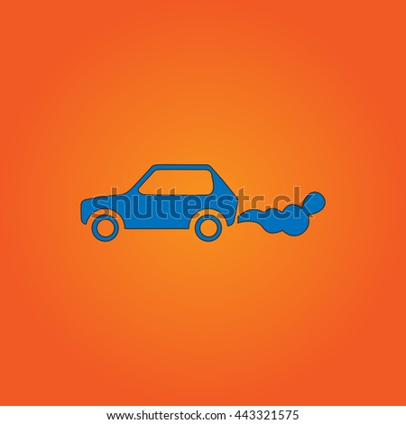 contamination Blue flat icon with black stroke on orange background. - stock photo