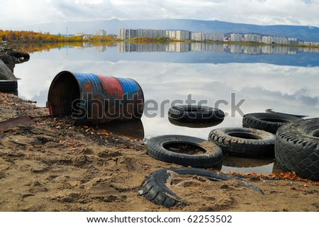 Contamination of lake. An environmental problem - stock photo