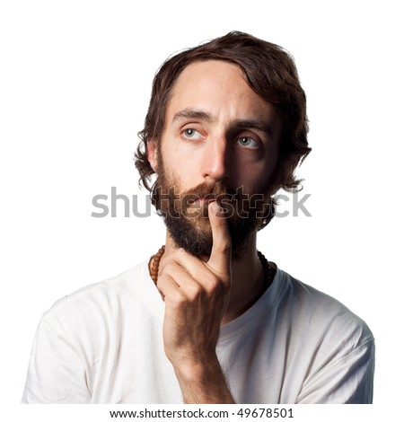 Contemplating something serious - stock photo