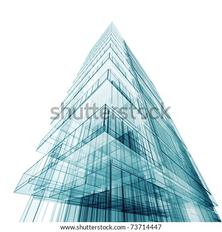 Contemporary abstract building. High resolution 3d render - stock photo