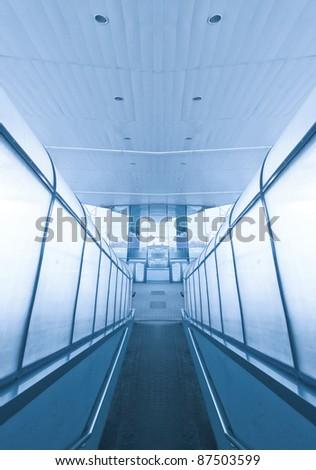 contemporary airport interior - stock photo