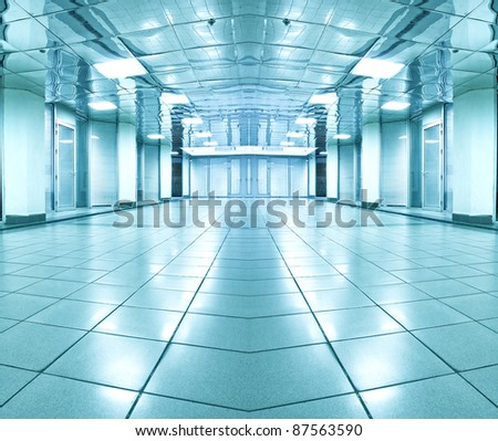 contemporary airport interior - stock photo