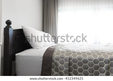contemporary and classic bedroom in house. - stock photo