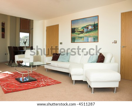 Contemporary apartment living space. Property released. - stock photo