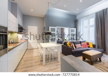 Contemporary Apartment Dining Table Open Kitchen Stock Photo ...
