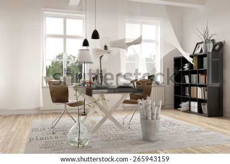 Contemporary Architecture Interior Design of a Spacious White Office with Bookshelves at the Corner. 3d Rendering - stock photo