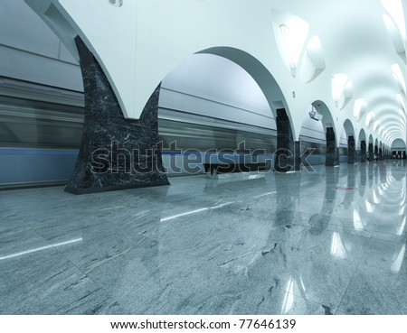 Contemporary architecture of light rail station - stock photo
