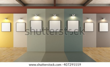 Contemporary art gallery with colorful panels and blank frame - 3d rendering