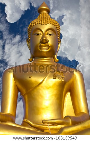 Contemporary art of stucco Golden Buddha temple in Thailand.