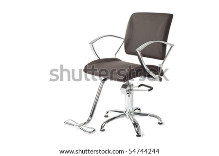 Contemporary barber chair isolated on white. - stock photo