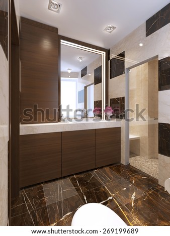 Contemporary bath with glass shower. 3d render - stock photo