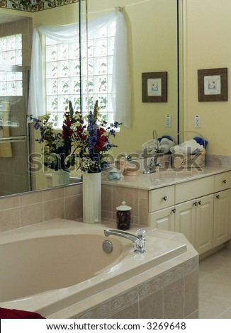 Contemporary bathroom in middle class home - stock photo