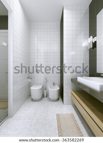 Contemporary bathroom trend. Wall tiles. 3D render