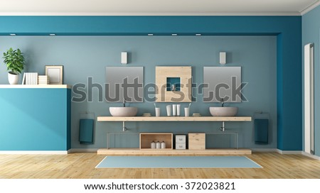 Contemporary bathroom with double sink on wooden shelf - 3D Rendering - stock photo