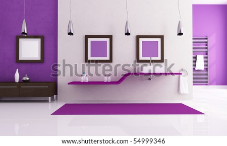 contemporary bathroom with fashion sink - rendering - stock photo
