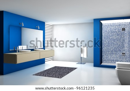 Contemporary bathroom with modern design and furniture, colored in blue, maple and white, 3d rendering. - stock photo