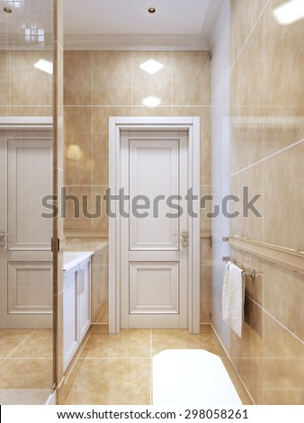 Contemporary bathroom with shower. Bright bathroom interior with white doors and furniture. 3D render