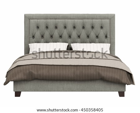 contemporary bed isolated on white background front view