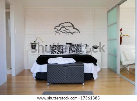 contemporary bedroom - stock photo