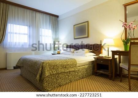 Contemporary bedroom Interior - stock photo