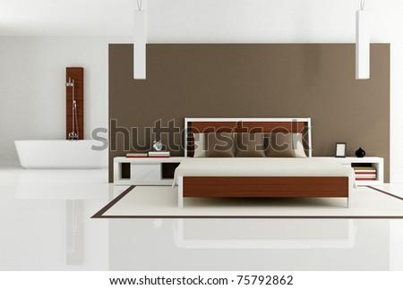 contemporary bedroom with bathtub - rendering - stock photo