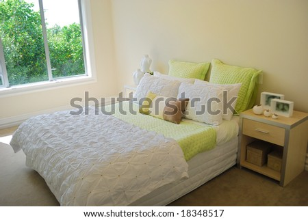 contemporary bedroom with modern furniture - stock photo