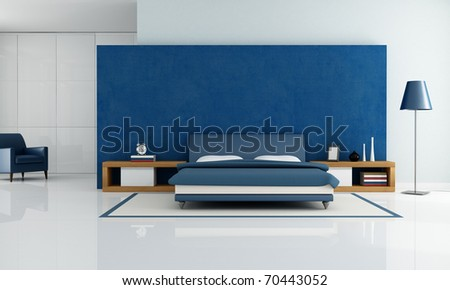 contemporary blue bedroom with white wardrobe and armchair - rendering - stock photo