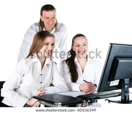 Contemporary business people working in team. Studio shot - stock photo