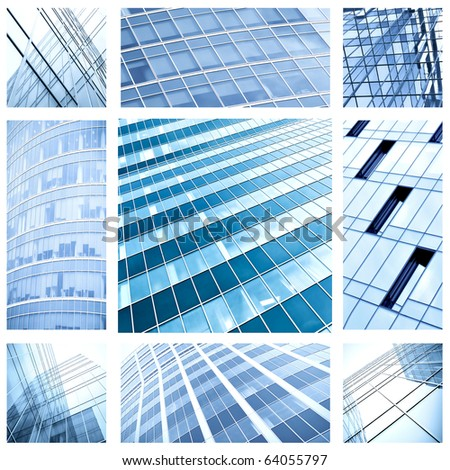 contemporary collage of blue glass architectural buildings - stock photo