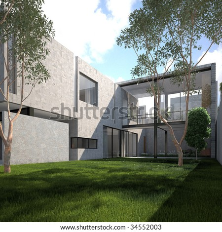 Contemporary concrete home with lush green garden in summer (3D render)