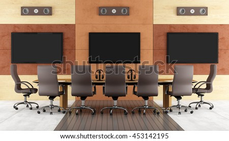 Contemporary conference room with meeting table,chair and led monitor on wall - 3d rendering