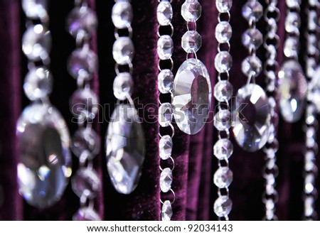 Contemporary Crystal Chandelier. Close up on the crystal of a contemporary chandelier.