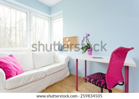 Contemporary decor of modest teenage girl's apartment - stock photo