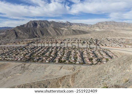 Contemporary desert housing tracts near the Spring Mountains in Las Vegas, Nevada. - stock photo