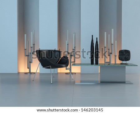 Contemporary design interior with black chair and candleholder - stock photo