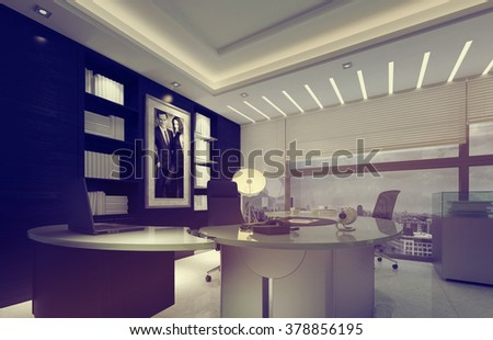 Contemporary Desk and Bookshelves in Spacious Modern Office with Large Windows with View of City on Overcast Day. 3d Rendering.