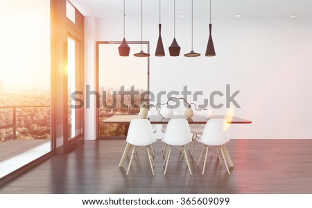 Contemporary dining corner in a living room with four stylish overhead lights above a table and chairs with huge view windows overlooking the city. 3d Rendering. - stock photo