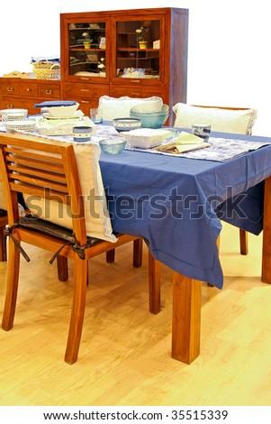Contemporary dinning room with sea marine theme - stock photo