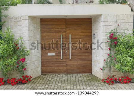 Contemporary elegant house entrance - stock photo