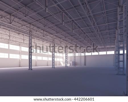 Contemporary empty white warehouse illuminated by sunlight interior 3d illustration background - stock photo