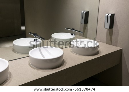 Contemporary European Ceramic Sink Modern Washbasin In Office Building Washstands With Photocells Public